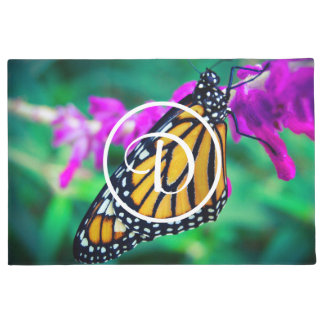 Orange monarch butterfly photo custom monogram doormat