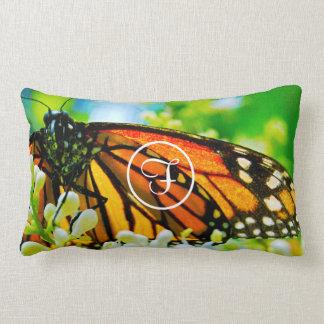 Orange monarch butterfly photo custom monogram lumbar pillow
