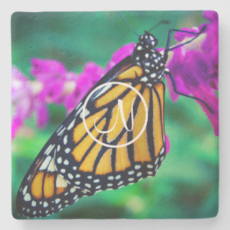 Orange monarch butterfly photo custom monogram stone coaster