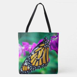 Orange monarch butterfly photo custom monogram tote bag