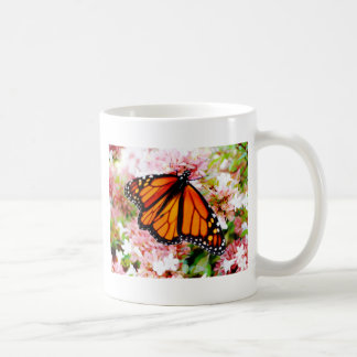 Orange Monarch on pink flowers Coffee Mug