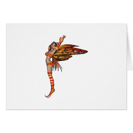Orange Monarch Pixie Butterfly Fairy 2 - Card