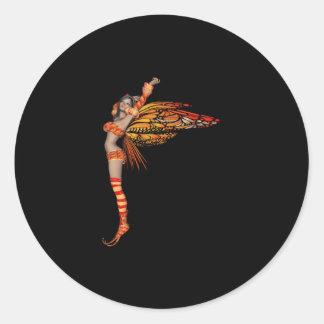 Orange Monarch Pixie Butterfly Fairy 2 - Classic Round Sticker