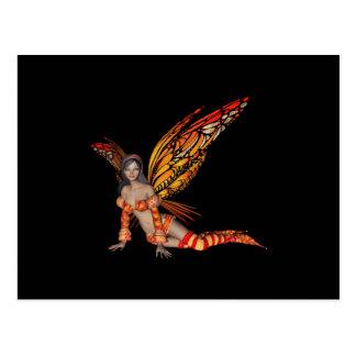 Orange Monarch Pixie Butterfly Fairy 3 - Postcard