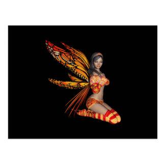 Orange Monarch Pixie Butterfly Fairy 4 - Postcard