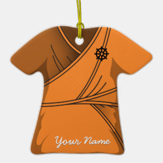 Orange Monk Robe Dharma Wheel Double-Sided T-Shirt Ceramic Christmas Ornament