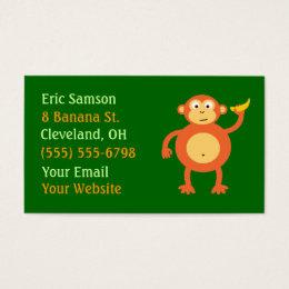 Monkey banana business cards templates zazzle orange monkey business cards reheart Gallery