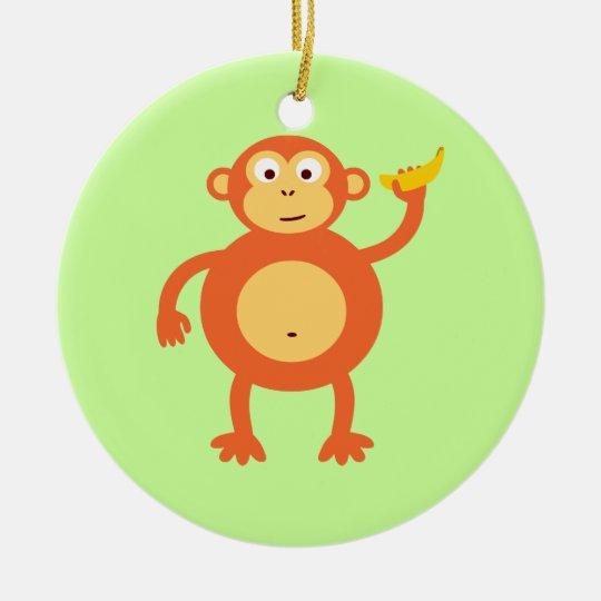 Orange Monkey Ceramic Ornament