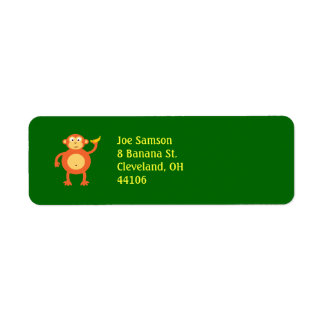 Orange Monkey Return Address Labels