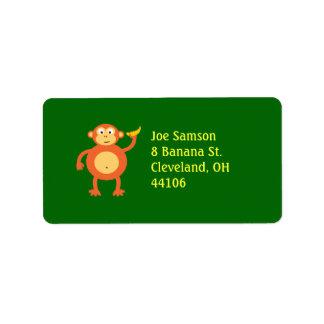 Orange Monkey Address Label