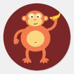 Orange Monkey Round Stickers