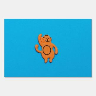 Orange monkey sticker signs
