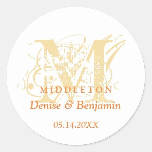 Orange monogram antique chic label wedding favor round stickers