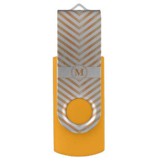 Orange Monogram & Chevrons2-USB Swivel Flash Drive Swivel USB 3.0 Flash Drive