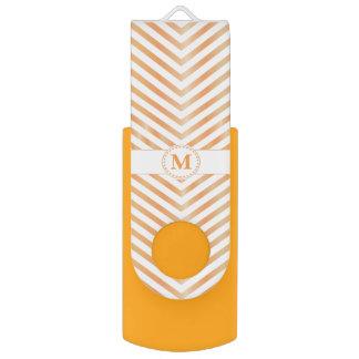 Orange Monogram & Chevrons-USB Swivel Flash Drive Swivel USB 3.0 Flash Drive