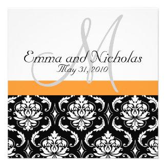 Orange Monogram Damask Wedding Invitation