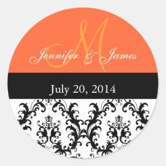 Orange Monogram Damask Wedding Stickers