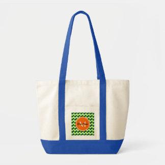 Orange Monogram Green Chevron Patchwork Pattern Tote Bag