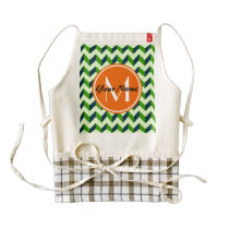 Orange Monogram Green Chevron Patchwork Pattern Zazzle HEART Apron