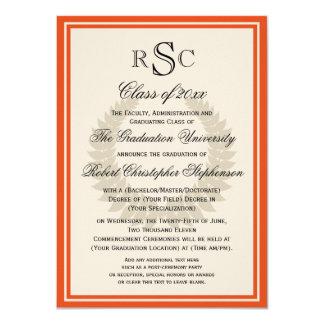 Orange Monogram Laurel Classic College Graduation 4.5x6.25 Paper Invitation Card