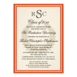 Orange Monogram Laurel Classic College Graduation Card