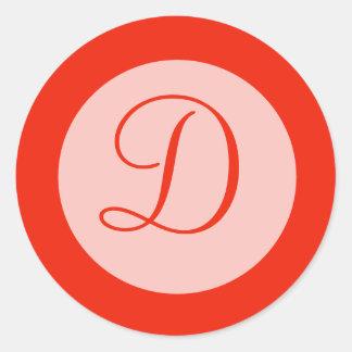 orange monogram classic round sticker
