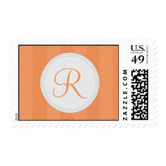 Orange Monogram Thin Chevron Pattern Postage Stamps