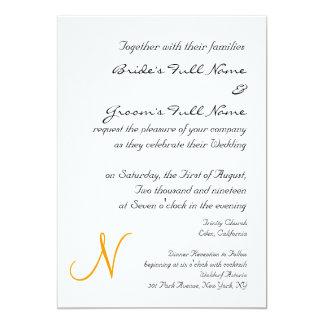 ORANGE MONOGRAM WEDDING INVITATION TEMPLATE