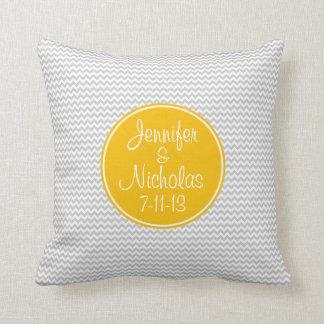 Orange Monogram with Grey Chevron Pillow