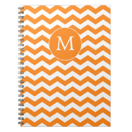 Orange Monogrammed Zigzag Notebook