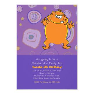 Orange Monster Birthday Party Invitation