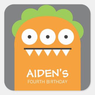Orange Monster Birthday Sticker