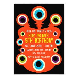 Orange Monster Eyes Birthday Party Invitations