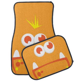 Orange Monster Face Car Mats