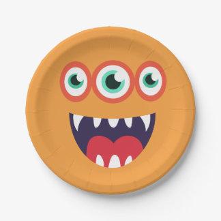 Orange Monster Face Paper Plate