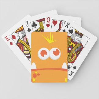 Orange Monster Face Playing Cards
