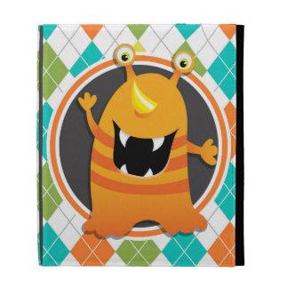 Orange Monster on Colorful Argyle Pattern iPad Folio Cover