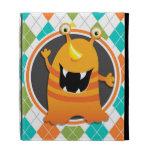 Orange Monster on Colorful Argyle Pattern iPad Folio Case