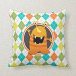 Orange Monster on Colorful Argyle Pattern Pillow