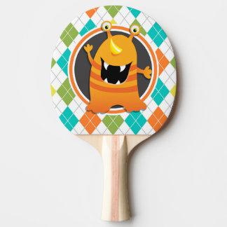 Orange Monster on Colorful Argyle Pattern Ping-Pong Paddle