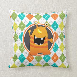 Orange Monster on Colorful Argyle Pattern Throw Pillow