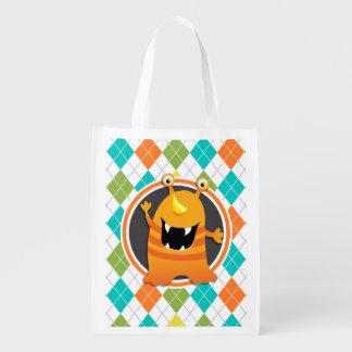 Orange Monster on Colorful Argyle Pattern Market Tote