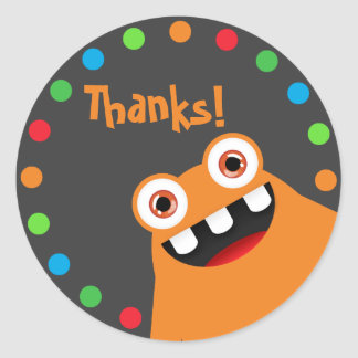 Orange Monster Thank You Stickers