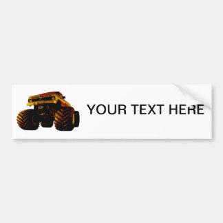 Orange Monster Truck Bumper Sticker