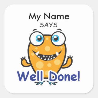 Orange Monster - Well Done! Square Sticker
