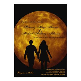 Orange Moon Silhouette Couple Wedding Invitations