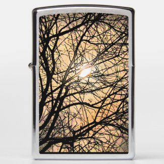 Orange Moon with Black Tree Branches Zippo Lighter