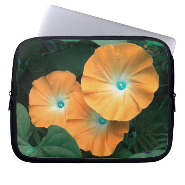 Orange Morning Glories Laptop Sleeve