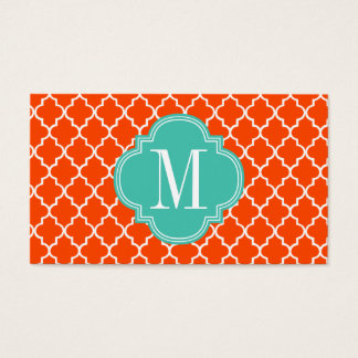 Orange Moroccan Tiles Lattice Personalized Business Card