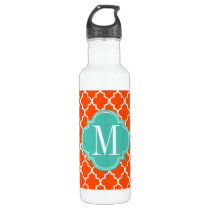 Orange Moroccan Tiles Lattice Personalized Stainless Steel Water Bottle